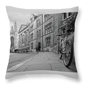 Throw Pillow featuring the photograph Trinity Lane Clare College Great Hall In Black And White by Gill Billington