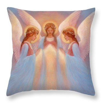 Trinity Of Angels Throw Pillow by Jack Shalatain