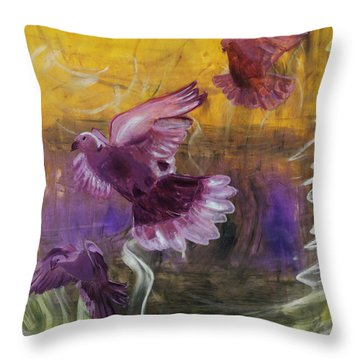 Throw Pillow featuring the painting Trinity Of Contemporary Flying Dove Birds In Yellow Purple And Blue by MendyZ M Zimmerman