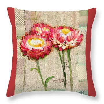 Throw Pillow featuring the painting Trio by Carrie Joy Byrnes