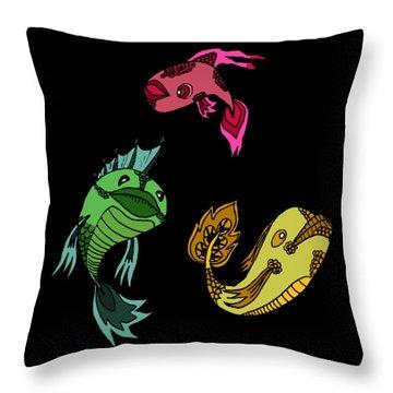 Trio Fish Throw Pillow