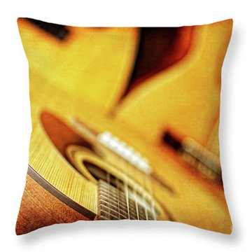 Throw Pillow featuring the photograph Trio Of Acoustic Guitars by Lincoln Rogers