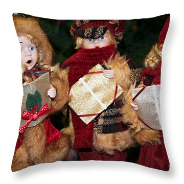 Trio Of Carolers Throw Pillow