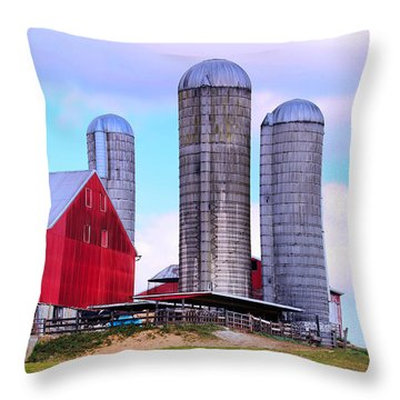 Throw Pillow featuring the photograph Trio Of Silos by Polly Peacock