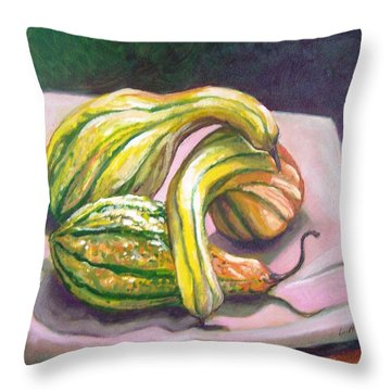 Throw Pillow featuring the painting Gourd Grouping by Laura Aceto