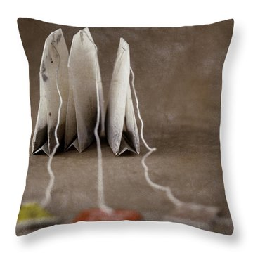 Trio Of Teabags Throw Pillow