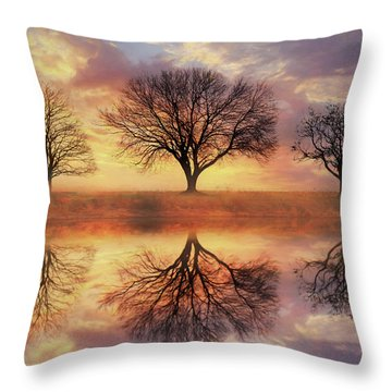 Throw Pillow featuring the mixed media Trio Of Trees by Lori Deiter