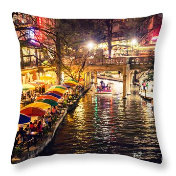 Trip To The Riverwalk Throw Pillow by Iris Greenwell