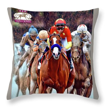 Triple Crown Winner Justify 2 Throw Pillow