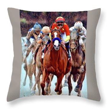 Triple Crown Winner Justify Throw Pillow