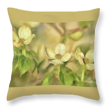 Throw Pillow featuring the digital art Triple Dogwood Blossoms In Evening Light by Lois Bryan