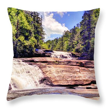 Triple Falls - Dupont Forest Throw Pillow