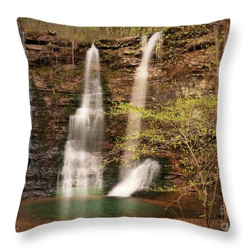 Triple Falls Landscape Throw Pillow by Tamyra Ayles