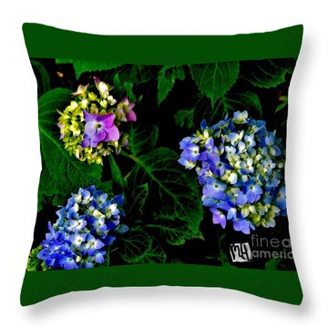 Triple Hydrangia In Spring Throw Pillow by Marsha Heiken