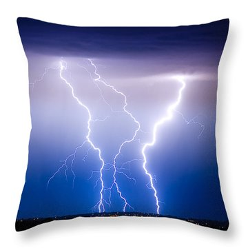Triple Lightning Throw Pillow by James BO  Insogna