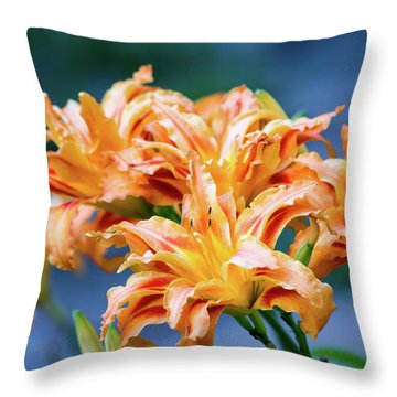 Triple Lilies Throw Pillow