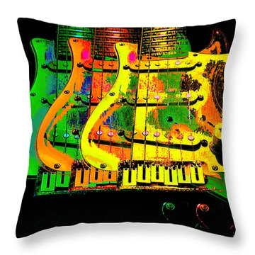 Throw Pillow featuring the photograph Triple Pickguards by Guitar Wacky