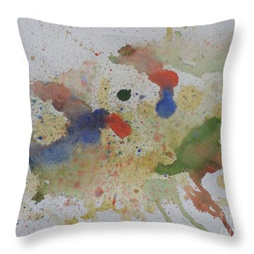 Throw Pillow featuring the painting Triple Rooster Race by Vicki  Housel