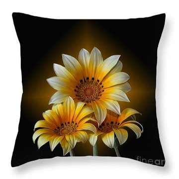 Triple Sunshine Black And Gold Throw Pillow