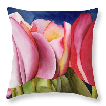 Triple Tulips Throw Pillow
