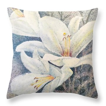 Throw Pillow featuring the painting Triplefold White by Carolyn Rosenberger