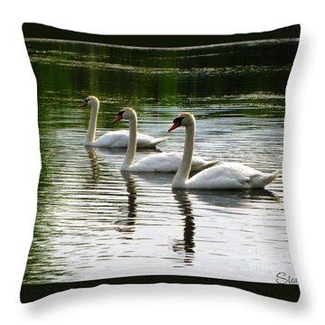 Triplet Swans Throw Pillow
