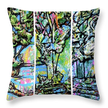 Throw Pillow featuring the painting Triptych Of Three Trees By A Brook by Genevieve Esson