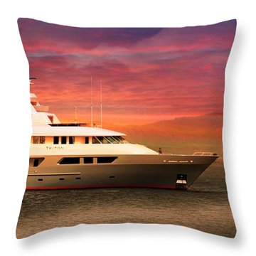 Throw Pillow featuring the photograph Triton Yacht by Aaron Berg
