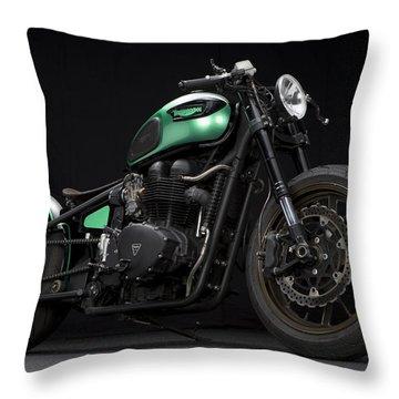 Triumph Green Bobber Throw Pillow