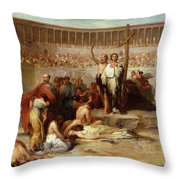 Triumph Of Faith    Christian Martyrs In The Time Of Nero Throw Pillow by Eugene Romain Thirion
