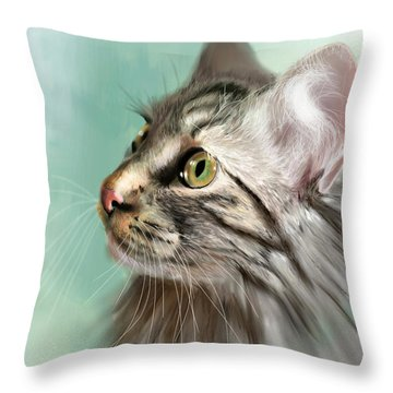 Trixie The Maine Coon Cat Throw Pillow by Angela Murdock