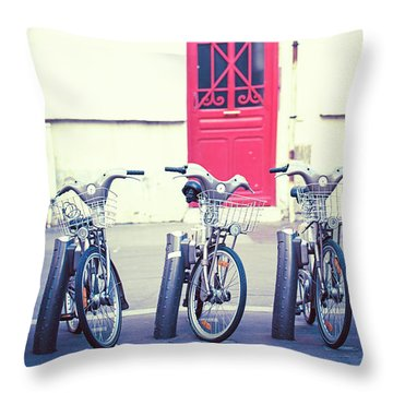 Throw Pillow featuring the photograph Trois - Three Bicycles In Paris by Melanie Alexandra Price