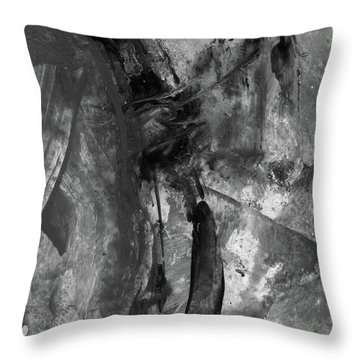 Trojan Horse - Black And White Vertical Painting Throw Pillow