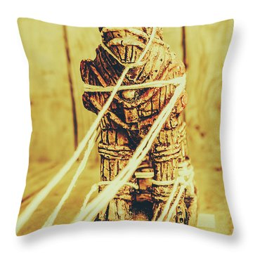 Trojan Horse Wooden Toy Being Pulled By Ropes Throw Pillow