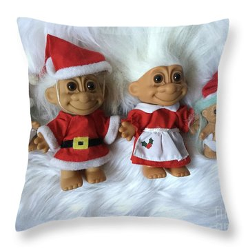 Troll Family Christmas 2015 Throw Pillow by Patricia E Sundik