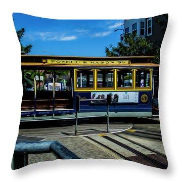 Trolley Car Turn Around Throw Pillow