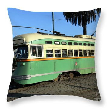 Trolley Number 1058 Throw Pillow by Steven Spak