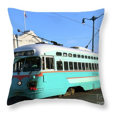 Trolley Number 1076 Throw Pillow