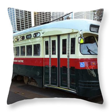 Trolley Number 1077 Throw Pillow