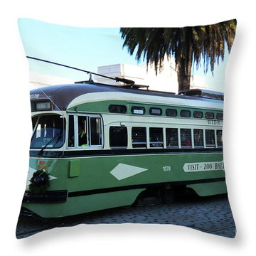 Trolley Number 1078 Throw Pillow
