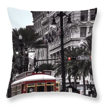 Trolley On Bourbon And Canal  Throw Pillow by Tammy Wetzel