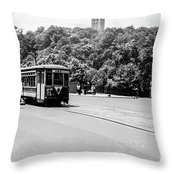 Throw Pillow featuring the photograph Trolley With Cloisters by Cole Thompson