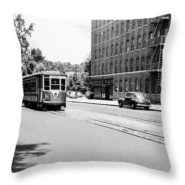 Throw Pillow featuring the photograph Trolley With Packard Building  by Cole Thompson