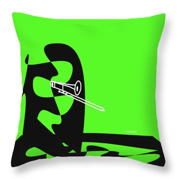 Throw Pillow featuring the digital art Trombone In Green by Jazz DaBri
