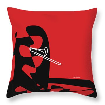 Throw Pillow featuring the digital art Trombone In Red by Jazz DaBri