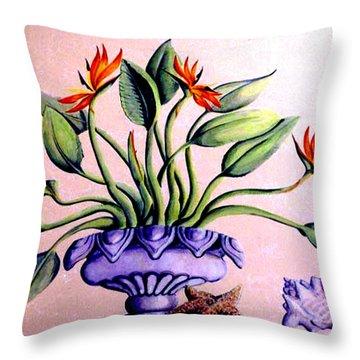 Trompe L'oeil  Birds Of Paradise Throw Pillow