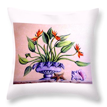 Trompe L'oeil  Birds Of Paradise Throw Pillow