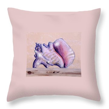Trompe L'oeil Conch Shell Throw Pillow