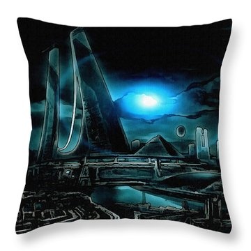 Tron Revisited Throw Pillow by Mario Carini