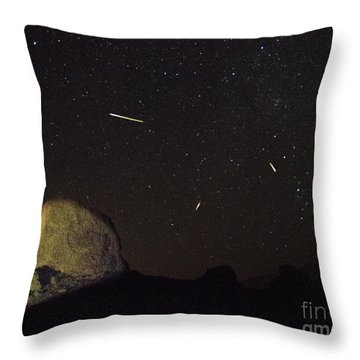 Trona Pinnacles Perseids Meteor Shower Throw Pillow